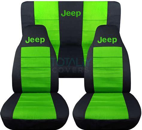 jeep green logo jeep wrangler yj tj jk 1987 2017 2 tone seat covers w logo