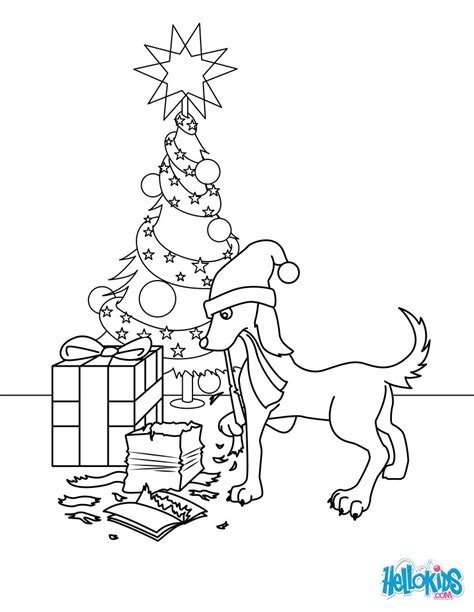 coloring pages dogs christmas dog gifts coloring pages hellokids com