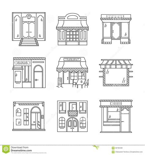 facade pattern web service linear icons for storefronts stock photo image 58196408
