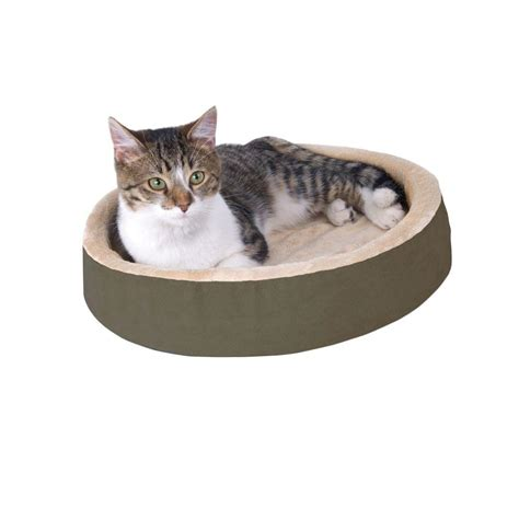 k h thermo kitty heated cat bed k h pet products thermo kitty cuddle up small mocha heated