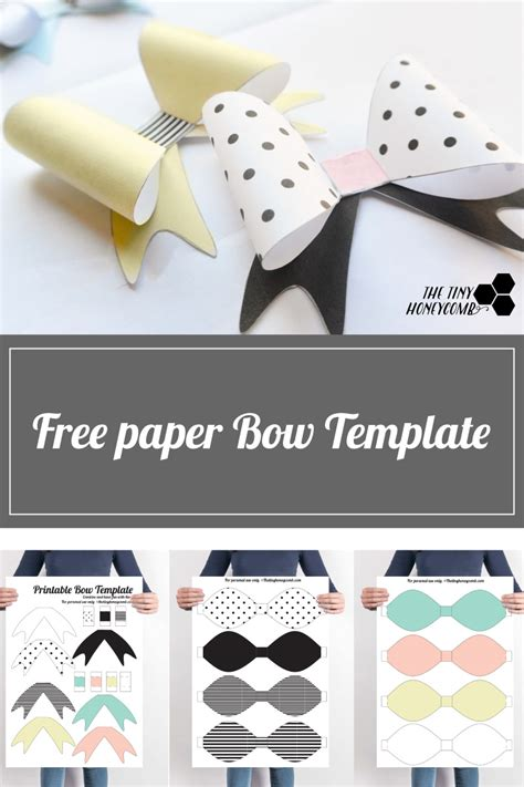 hair tie card template diy printable paper bow with template the tiny honeycomb