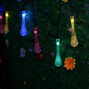 Solar Powered String Lights Patio Solar Powered String Lights 5m 20 Led Water Drop Styled For Outdoor Garden Fence Patio