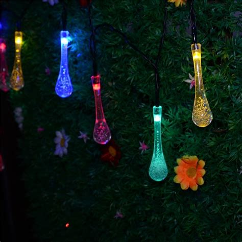solar powered string lights 5m 20 led water drop styled