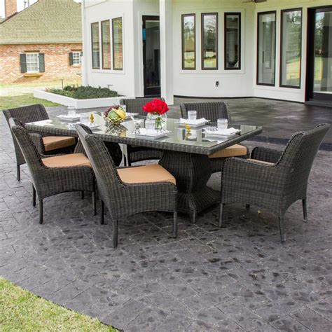 Bienville 6 Person Resin Wicker Patio Dining Set Modern Resin Patio Dining Sets