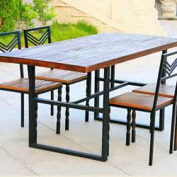 Wood And Wrought Iron Dining Tables Simple Combination Of Solid Wood Dining Tables And Chairs