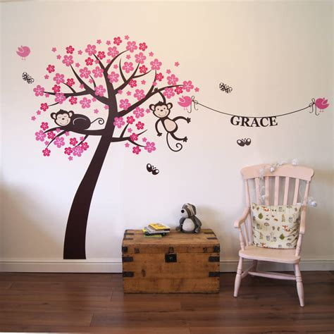 bespoke wall stickers personalised monkey blossom wall stickers by parkins interiors notonthehighstreet