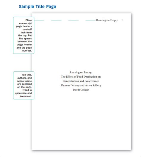 page template creator sle apa cover page template 9 free documents in pdf