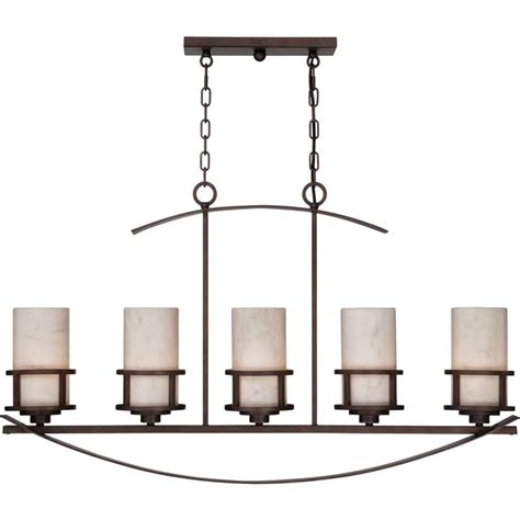 Linear Candle Chandelier Quoizel Ky540in Iron Gate Kyle 5 Light 40 Quot Linear Chandelier With Onyx Pillar Candle Shades