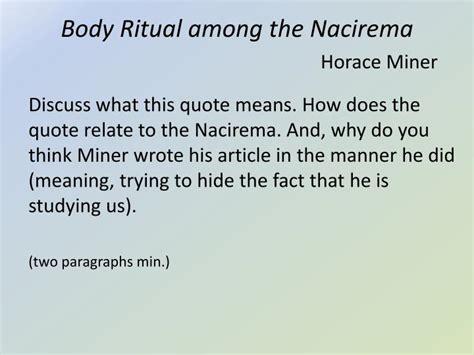 Ritual Among The Nacirema Essay by Ppt Ritual Among The Nacirema Horace Miner Powerpoint Presentation Id 1075066