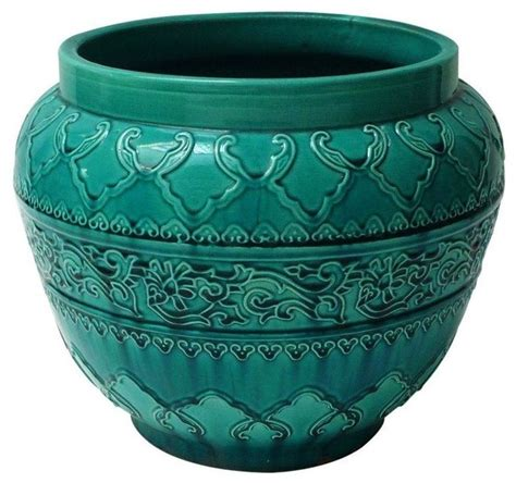 Pots And Planters by Pre Owned Turquoise Majolica Planter Mediterranean