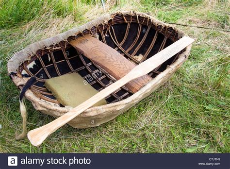 boat made of skins a elliptical coracle a traditional boat made of willow