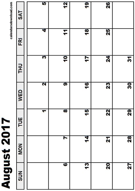 Calendar 2017 August Printable