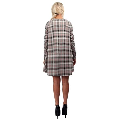 long sleeve swing dress uk long sleeve dogtooth checked swing dress