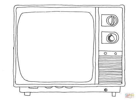 old sytle tv coloring page free printable coloring pages