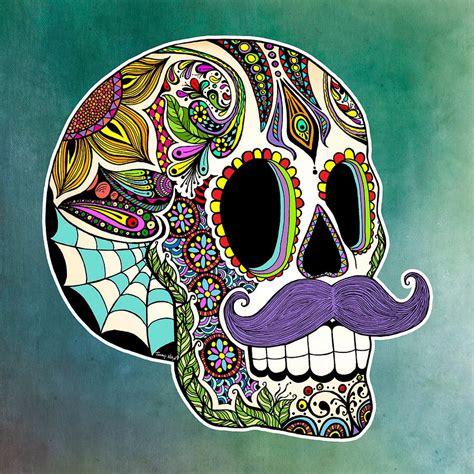 sugar skull forget me not smile mustache sugar skull
