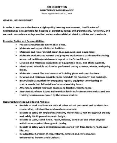 maintenance director job description sample  examples  word