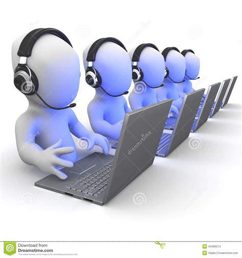 Help Desk Software Download 3d Little People Working On Laptops Wearing Headsets Stock
