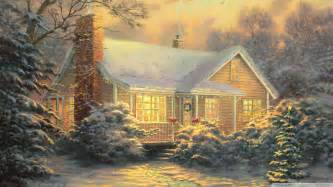 cottage by kinkade wallpaper