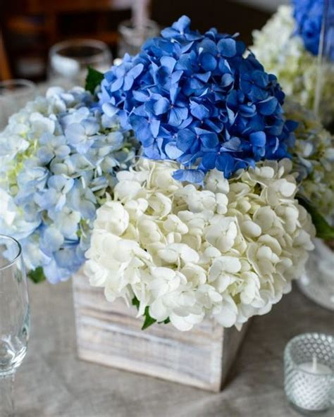 blue hydrangea centerpiece 25 best ideas about hydrangea wedding centerpieces on photo wedding centerpieces