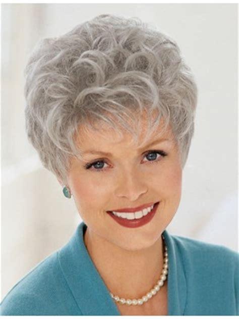 ladies short curly grey wig, ladies grey hair wigs   p4