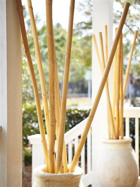 outdoor patio decor bamboo poles in vase garden outdoor