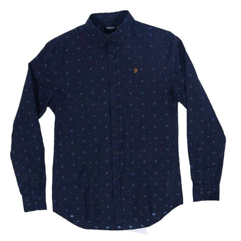 farah blackthorn shirt navy mens shirts from attic