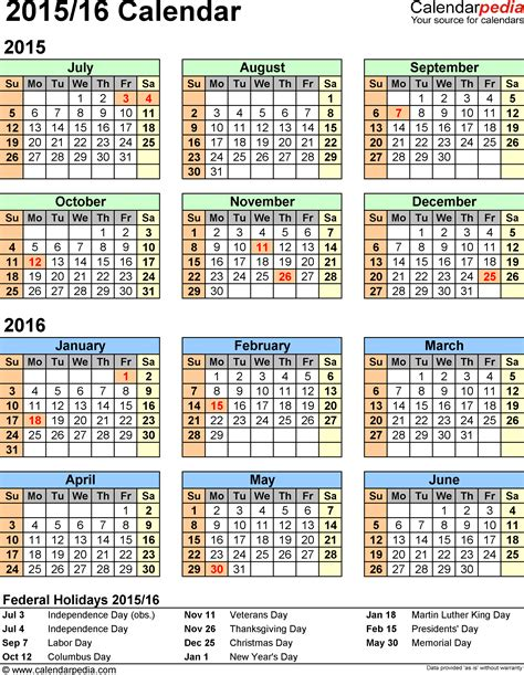 2016 Calendar Year Split Year Calendar 2015 16 Printable Word Templates