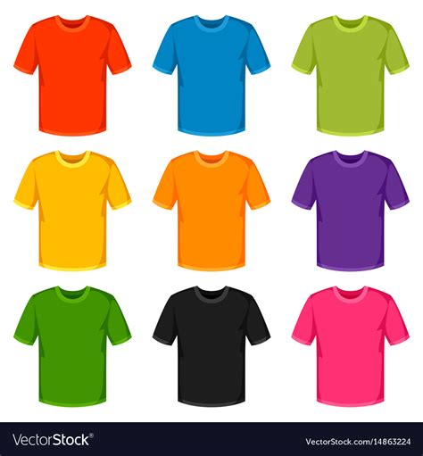 colored shirts colored t shirts templates set of promotional and vector image