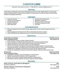 Resume Exles Human Resources Human Resource Manager Resume Student Resume Template