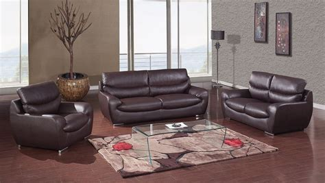 room setting chocolate bonded leather contemporary living room set