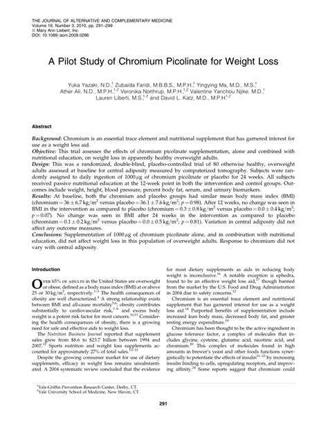 David L Katz Answers Weight Loss And Nutrition Questions by A Pilot Study Of Chromium Picolinate For Pdf