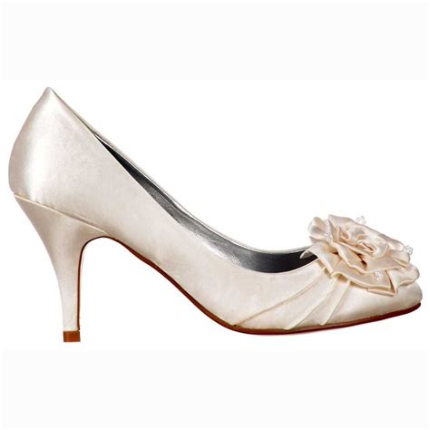 Wedding Shoes Low Heel by Shoekandi Bridal Wedding Low Kitten Heel Shoes Flower