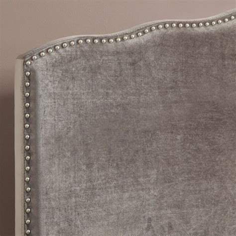 silver upholstered headboard pri queen velvet upholstered nailhead headboard in silver