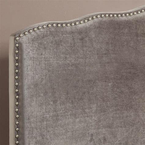 silver padded headboard pri queen velvet upholstered nailhead headboard in silver
