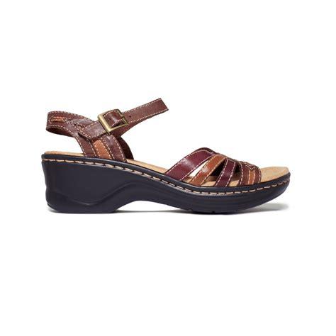 clarks norwich platform wedge sandals in brown lyst