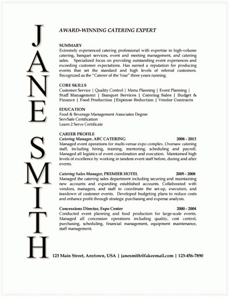 Catering Event Planning Resume by Catering Manager Resume