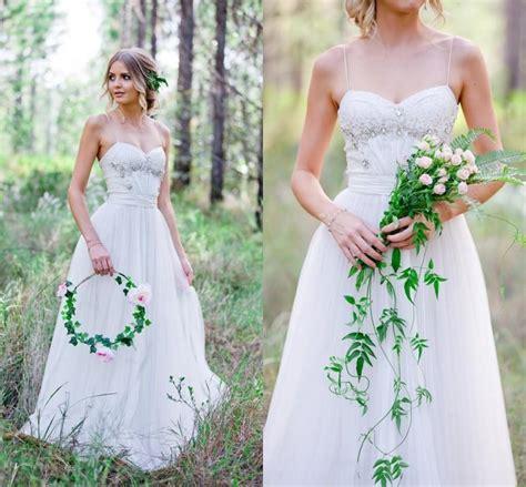 Summer Garden Wedding Dresses - summer beach 2016 lace wedding dresses spaghetti straps tulle a line garden beads crystal