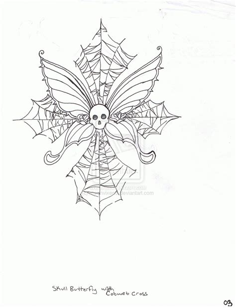 skull butterfly cobweb cross tattoo design by moonvixen8