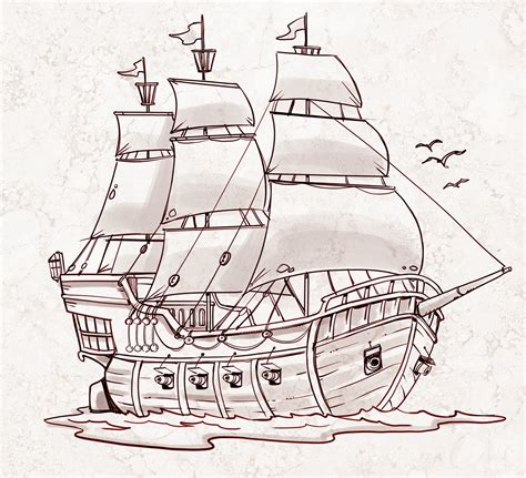 boat sinking drawing pirate ship a sketch for a how to draw book my