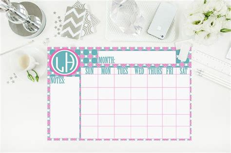 personalized large desk pad calendar large desk calendar teal and pink floral calendar