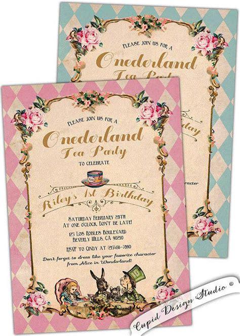 Alice In Wonderland First Birthday From Cupiddesigns On Etsy Unbirthday Card Template