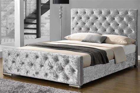 Silver Frame Bed Buckingham Crushed Silver Fabric Upholstered Buttoned Bed King Price Beds