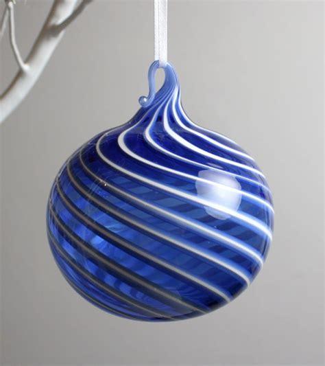 blue swirl blown glass ornament