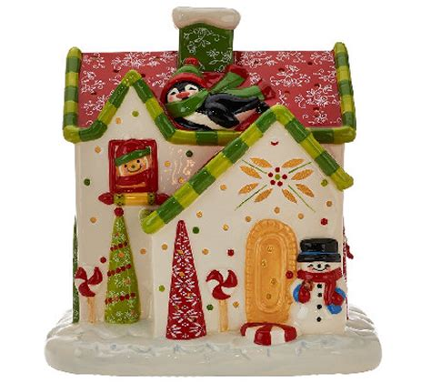 ceramic gingerbread house with lights temp tations 8 quot illuminated ceramic gingerbread house