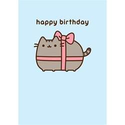 pusheen birthday present card meowco