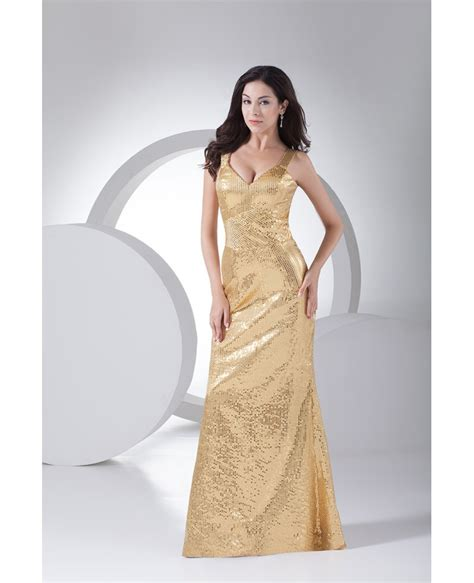 Gold Floor Length Dress by Sparkly Gold Sheath Floor Length Formal Dress With