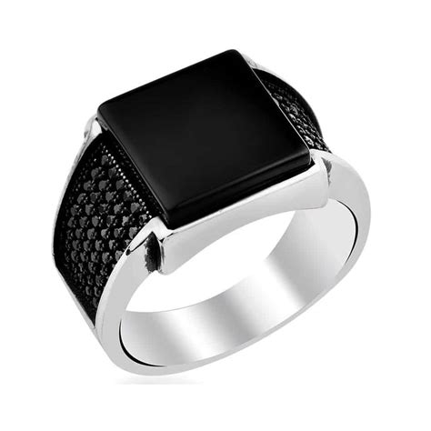 mens silver ring with black matte black square onyx silver s ring boutique
