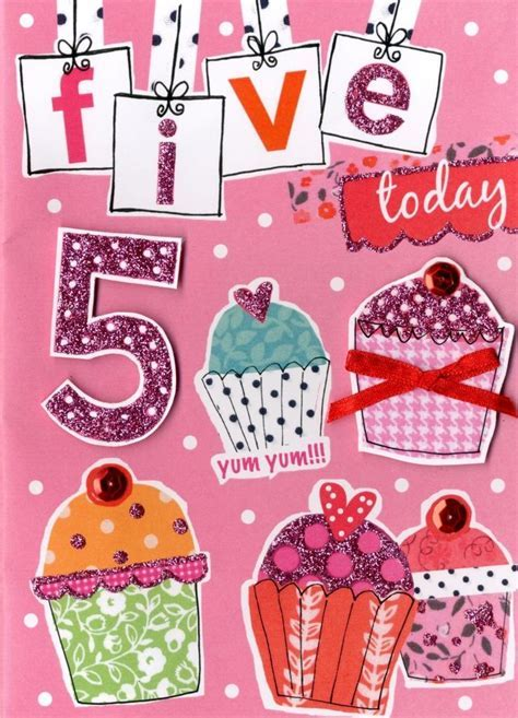 Girls 5th Birthday Card Five Today   Cards   Love Kates