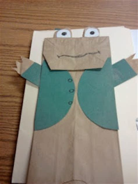 frog paper bag puppet pattern bookish ambition screen free week 2016