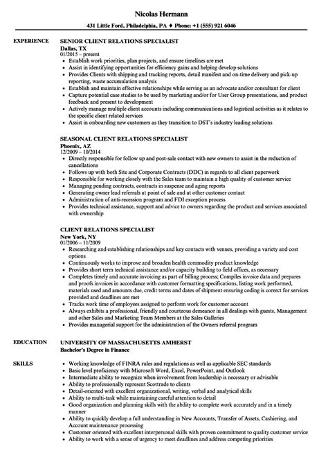 Relations Associate Sle Resume by Client Relations Specialist Resume Sles Velvet